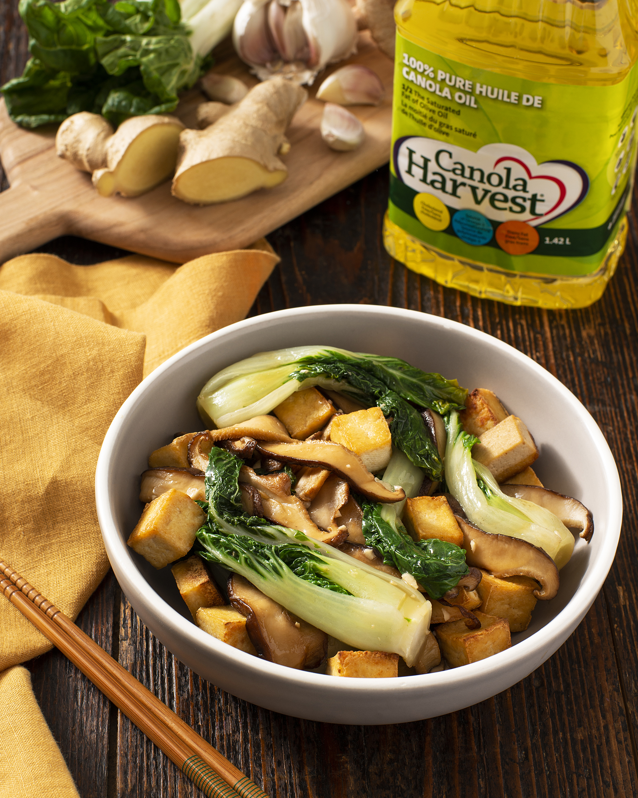 A photo of the finished Fried Tofu recipe with Shiitake Mushrooms and Bok Choy